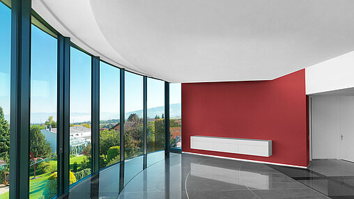 Curved sliding windows with unvisible balustrade and glass floor